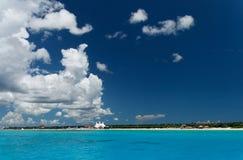 Blue Beach. Caribbean coastline with blue clear water Stock Photo