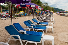 Blue beach-chairs Stock Images