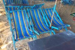Blue beach chairs at Cha-Am beach. Thailand Stock Images