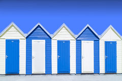 Blue beach hut. Under blue sky Royalty Free Stock Photo