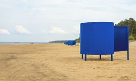 Blue beach huts. Royalty Free Stock Photography