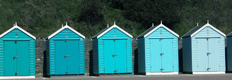 Blue Beach Huts Stock Photography