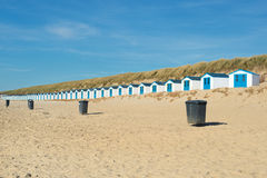 Blue beach huts. Row blue and white beach cabins for vacation surpose Royalty Free Stock Photography