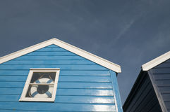 Blue beach huts Stock Image