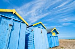 Blue beach huts in summer Royalty Free Stock Photo