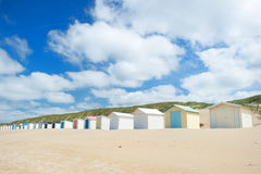 Blue beach huts at Texel Stock Photo