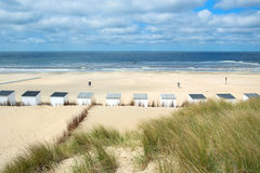 Blue beach huts at Texel Royalty Free Stock Images