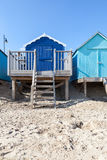Blue beach huts Royalty Free Stock Photos