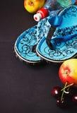 Blue beach slippers Stock Image