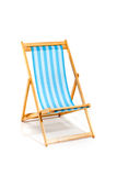 Blue beach sunbed isolated on white. Blue beach chair isolated on white, studio shot Royalty Free Stock Photography