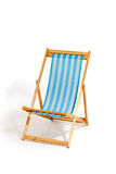 Blue beach sunbed isolated on white. Blue beach chair isolated on white, studio shot Royalty Free Stock Photo