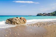 Blue beach in Taormina royalty free stock photography