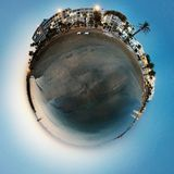 Blue Beach. Tiny Planet, Middle Eastern Sea Stock Photo