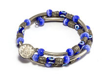 Blue Bead and Silver Bracelet Stock Image