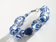 Blue beaded bracelet Royalty Free Stock Photo