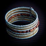 Blue beaded bracelet Stock Image
