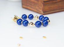Blue beaded bracelet Royalty Free Stock Photography