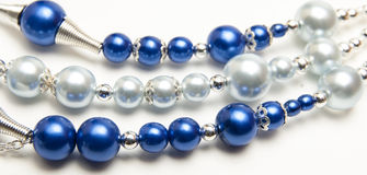 Blue beaded necklace Stock Photo