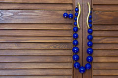 Blue beads and earrings Royalty Free Stock Images