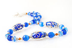 Blue beads handmade Royalty Free Stock Images