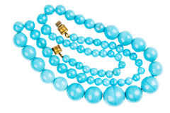 Blue beads necklace Stock Photos