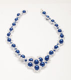 Blue beads necklaces with swarovski crystals  Stock Images