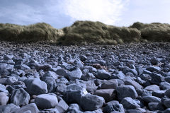 Blue beale rocky beach dunes Royalty Free Stock Images