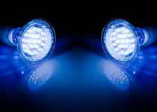 Beams of led lamps. Blue beams of two led lamps Stock Photo