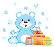 Blue bear with gifts Stock Photo