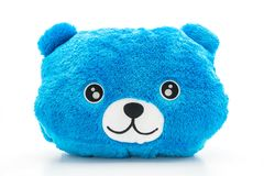 Blue bear pillow. Isolated on white background royalty free stock image