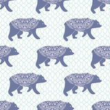 Blue bear vector seamless pattern with openwork Royalty Free Stock Photo