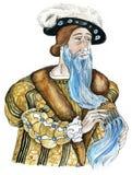 Blue beard man. Cartoon character illustration of famous fairy tale Blue beard Royalty Free Stock Image