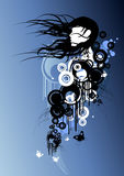 Blue beautiful Girl. Free flowing female with design elements vector illustration