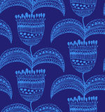 Blue beautiful seamless pattern  Oriental floral background  Decorative gorgeous template for wallpapers, textile Royalty Free Stock Photo
