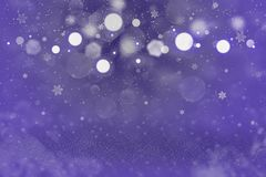 Blue beautiful shining glitter lights defocused bokeh abstract background with falling snow flakes fly, festive mockup texture wit. Blue cute sparkling abstract stock photography