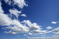 Blue beautiful sky with white clouds in sunny day. Blue beautiful sky with white clouds view in sunny day stock photography