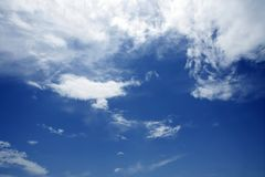 Blue beautiful sky with white clouds  in sunny day Stock Photography