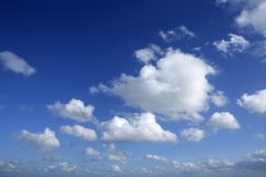 Blue beautiful sky with white clouds  in sunny day Royalty Free Stock Photos