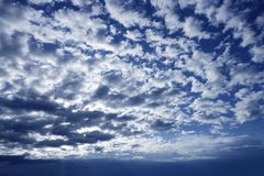 Blue beautiful sky with white clouds view in sunny Stock Image