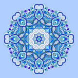 Blue beautiful vintage circular pattern of arabesques Royalty Free Stock Images