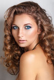 Blue beauty fashion make-up.Beautiful young model with bright make-up and manicure Stock Photos