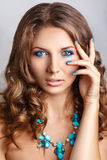 Blue beauty fashion make-up.Beautiful young model with bright make-up and manicure Stock Photo