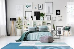 Free Blue Bed In Bedroom Stock Images - 113740154