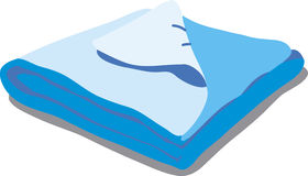 Blue bed linen. Vector Illustration of a cartoon Linen icon  on white background Stock Images