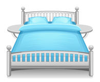 Blue bed. On a white background Royalty Free Stock Images