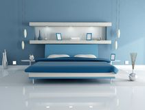 Blue bedroom Stock Images