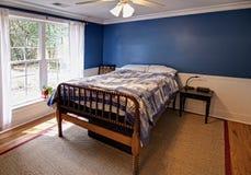 Blue bedroom stock image