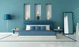 Blue bedroom Stock Photos