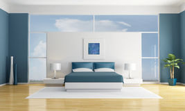 Blue bedroom Royalty Free Stock Photos