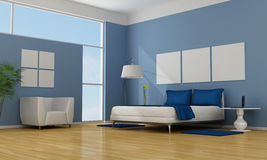 Blue bedroom Royalty Free Stock Images